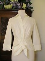 Lafayette 148 NY Womens White 3/4 Sleeve Button-Down Top Blouse Sz 6