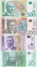 More details for four 20 to 500 dinara banknotes from serbia 2006 to 2014 in mint condition.