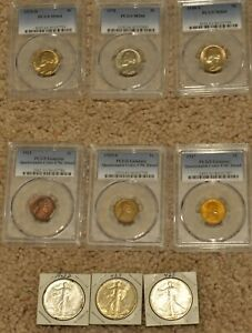Mixed Lot of 9 Coins PCGS Jefferson, PCGS Lincoln, Walking Liberty