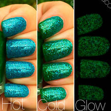 Mermaid Blue to Green Color Changing AND Green Glow in the Dark Nail Polish