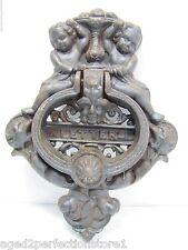 Vintage Cast Iron Figural Door Knocker Letters Mail Slot lrg ornate art nouveau
