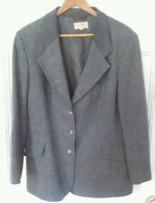 Vintage Women's L.L. Bean Sport Coat with Suede Collar Size 12R Gray Tweed