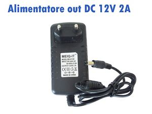 Alimentatore out DC 12volt 2A - in AC 100-240volt 50/60 Hz x strisce led o simil