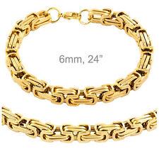 "Stainless Steel 6mm 24"" Gold Byzantine Box Link Chain Necklace & Bracelet Set"