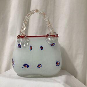 Italian Art Glass Murano Style Vincenza Style White Red Glass Handbag VGC - 5