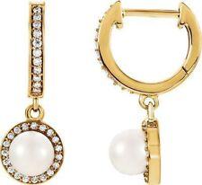 Freshwater Cultured Pearl & 1/5 ct. tw. Diamond Earrings In 14K Yellow Gold
