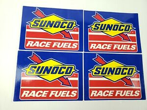 "4 Authentic SUNOCO Race Fuels Racing Decals Stickers NASCAR 5-1/2"" x 7-3/4"