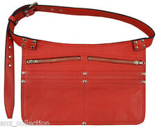 Deluxe Leather Market Traders Navy Red Money Cash Shoulder Strap Belt Zip Bag
