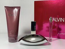 EUPHORIA BY CALVIN KLEIN WOMEN PERFUME GIFT SET SPRAY 3.4 OZ + B/L + MINI NIB
