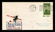 DR JIM STAMPS US BLOOD DONORS NEEDED WWII PATRIOTIC CACHET COVER 1945