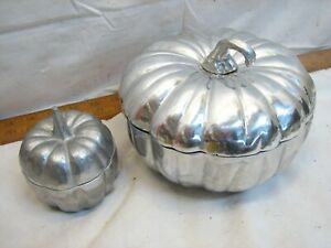 Pr Wilton Armetale Covered Pumpkin Dishes Pewter Serving Bowl Lidded Autumn Fall