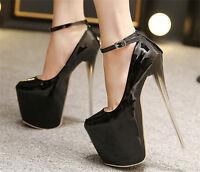 Women's Patent Leather High Heels Nightclub Shoes Platform Pump Shoes US Size