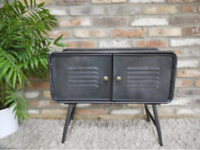 INDUSTRIAL RECLAIMED GREY METAL BEDSIDE LAMP SIDE COFFEE TABLE CABINET (DX5478)