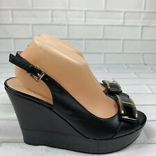Tommy Hilfiger Women Kameron Size 8.5M Wedge Heel Patent Leather Black Sandals