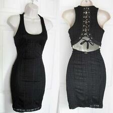 BEBE BLACK ABIGAIL LACE UP BACK DRESS NEW NWT SMALL S