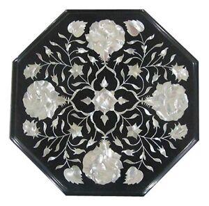 "12"" Semi Precious Stones Black Marble Handicraft Inlay Work Art Table Top"