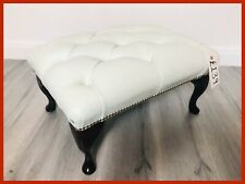 Chesterfield Buttoned Queen Anne White Leather Footstool