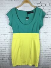 KARDASHIAN DRESS XL WOMEN'S YELLOW & TEAL COLOR BLOCK MINI FITTED (BAN)
