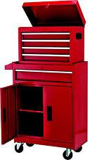 Chariot à outils métallique - Servante d'atelier rouge - Caisse amovible -