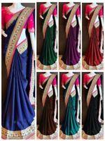 Sari Saree Indian Designer Wear Silk Wedding Pakistani Cotton Blouse New Party
