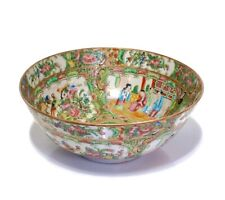 Chinese Rose Medallion Serving Bowl Mid-19th C Very Fine w Gold Highlights