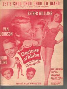 Let's Choo Choo Choo to Idaho 1950 Esther Williams Duchess of Idaho Sheet Music