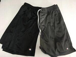 Lot of 2 Men's Champion Athletic Mesh Shorts 1)Gray1)Black Pocketed, Elastic 2XL