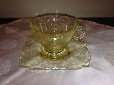 Heisey Old Colony Empress Glass Sahara RARE Cup & Saucer Set Yellow Depression