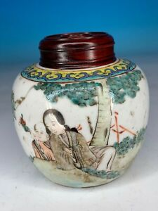 GREAT CHINESE QING PERIOD FAMILLE ROSE PORCELAIN ANTIQUE TEA CADDIE