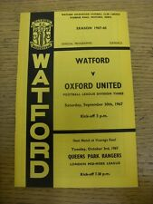 30/09/1967 Watford v Oxford United  . Thanks for viewing this item, buy with con