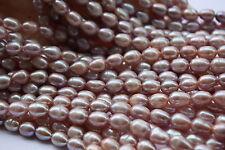 OV16V Zuchtperlen Strang Süßwasser Perlen Schmuck Kette Halskette 8-9 mm Oval