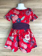 Tea Collection Toddlers Girls Red Floral Print Dress Size 4 short Sleeve Bow Tie