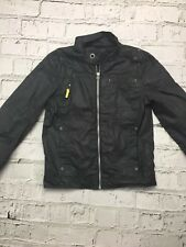 Boy's M&S Coat Zip Up Waterproof Black Grey 9-10 Years