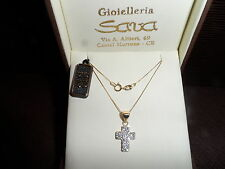 Collana donna veneziana oro giallo 750 18 kt e ciondolo croce in oro 750 18 kt