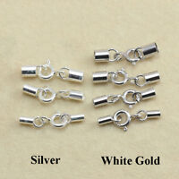 925 Sterling Silver Set End Cap Spring Ring Clasp Round Cord Glue Tip Kumihimo