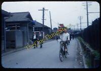 Ofuna Japan Street Scene Food Bicycle 1950s 35mm Slide Vtg Red Border Kodachrome