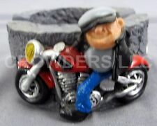 """Adams Apple Creations Man on Motorcycle Ash Tray Miniature 2.5"""" Wide 1.5"""" Tall"""