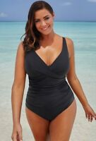 $72 NWT SWIM SEXY Black V-Neck Swimsuit Sz 24 Swimsuits for all Plus 810