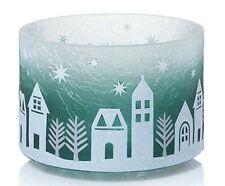 Winter Village Crackle Glass Barrel Jar Shade Yankee Candle NEW christmas snow