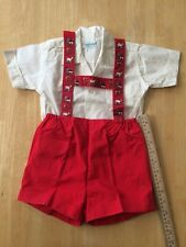 Vtg Swiss Boys red shorts-decorative suspenders size 3 made in Switzerland 1960s
