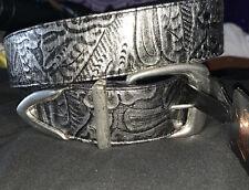 womens belts leather XXL Audrey Jones Black With Silver Buckle