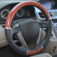 Wood Grain Steering Wheel Cover for Car SUV Lux Grip Black Leather Universal