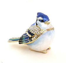 Betty Blue Jay Trinket / Jewelry Box Pewter Bejeweled Kingspoint