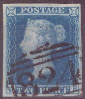 1841 2d Blue Plate 3 - (HB) Shifted transfer (ES11d) Superb Four Margin Example