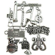 10PCS MIX Silver Music Note Saxophone Radio Harp Flute Drum Trumpet Band Pendant