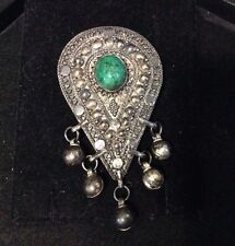VINTAGE STERLING SILVER MALACHITE BELLY DANCER PIN