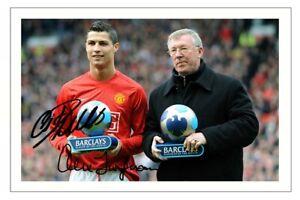 CRISTIANO RONALDO & ALEX FERGUSON Signed Autograph PHOTO Print MANCHESTER UNITED