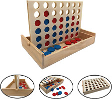 Connect 4 Four In A Row Board Game Family Party Travel Outdoor Garden Wooden Toy