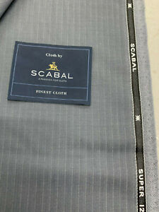 3.5 Metres Silver Grey Stripe Super 120s Wool Suit Fabric. Scabal 240g- 752930