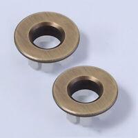 2 PCS Sink Basin Trim Overflow Cover Brass Round Caps Oil Rubbed Bronze Black
